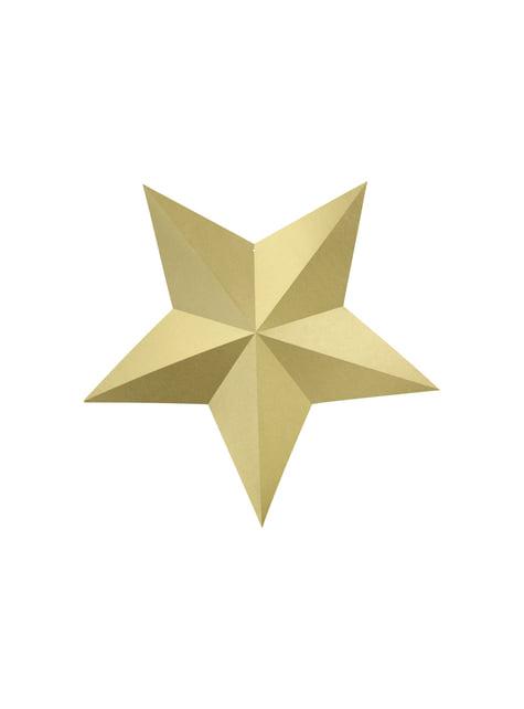 Conjunto de 6 estrelas penduradas dourado variado - Christmas