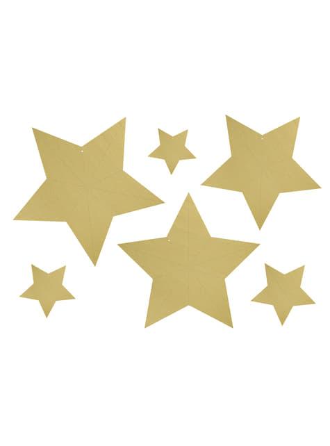 6 estrellas colgantes variadas doradas - Christmas - comprar