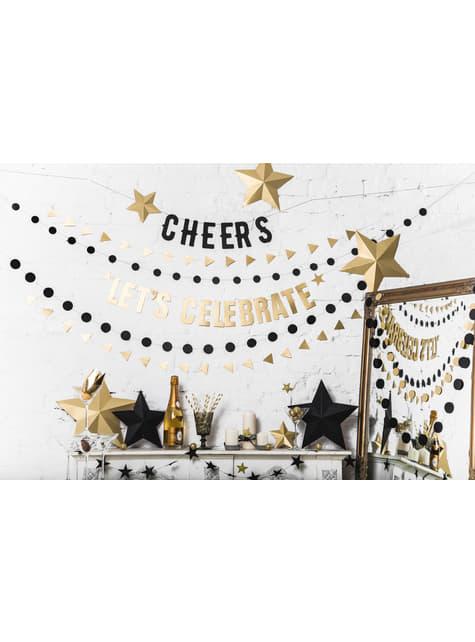 6 estrellas colgantes variadas doradas - Christmas - para decorar todo durante tu fiesta