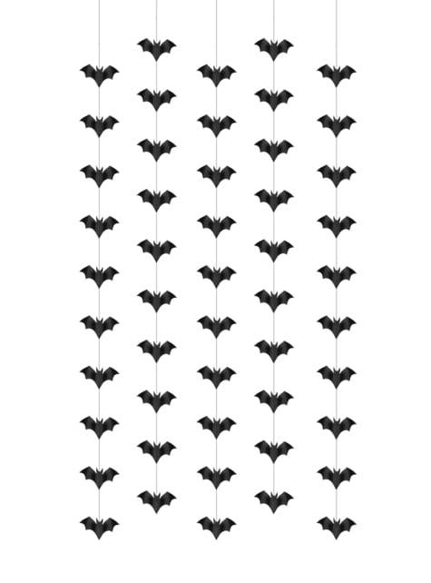5 guirnaldas colgantes con murciélagos negros de papel - Halloween