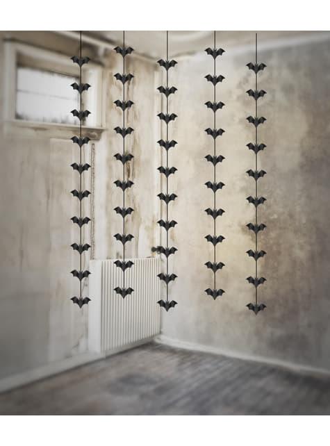 5 guirnaldas colgantes con murciélagos negros de papel - Halloween - para tus fiestas