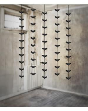 5 zwarte papieren vleermuis slingers - Halloween
