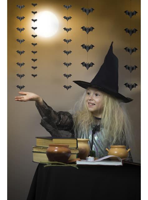 5 guirnaldas colgantes con murciélagos negros de papel - Halloween - barato