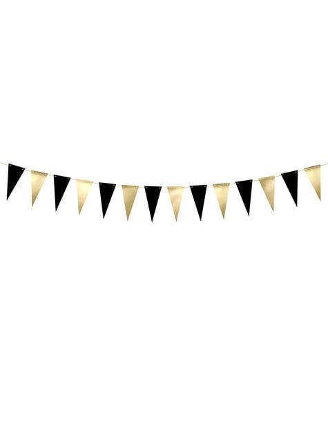 Banderín dorado y negro de papel
