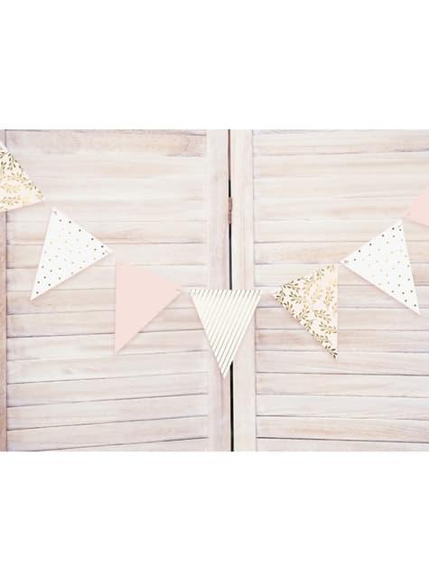 Banderín estampado variado tonos rosas de papel - Wedding in rose colour
