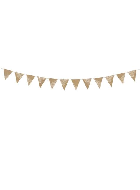 Bandeirola impresso papel Kraft de flores brancas