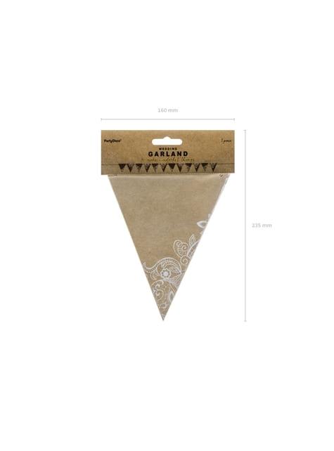 Banderín estampado flores blancas de papel Kraft