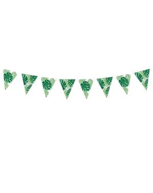 Fähnchen-Girlande mit grünen Blättern aus Papier - Aloha