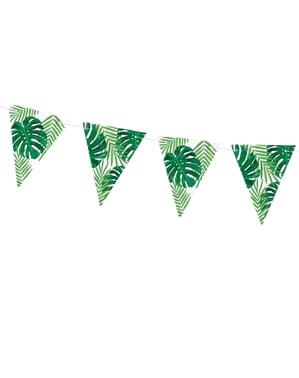 Bandeirola estampada folhas de papel verde - Aloha