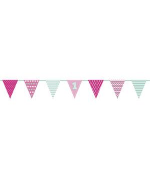 """""""1"""" पिंक पेपर बंटिंग - पहला जन्मदिन"""