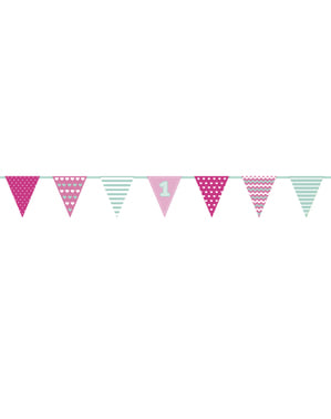 "Розова гирлянда с хартиени знаменца ""1""– First Birthday"