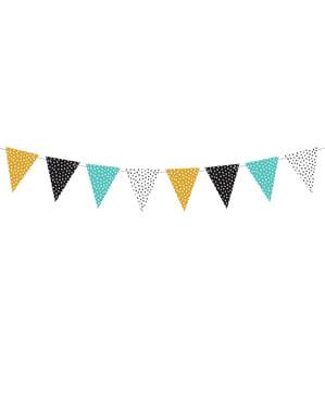 Bandeirola multicolor de bolinhas de papel - Dinosaur Party