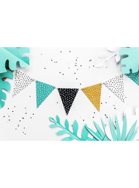 Guirlande fanions multicolores à pois en papier - Dinosaur Party