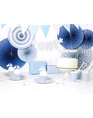 Fähnchen-Girlande mit blauen Punkten aus Papier - Blue 1st Birthday