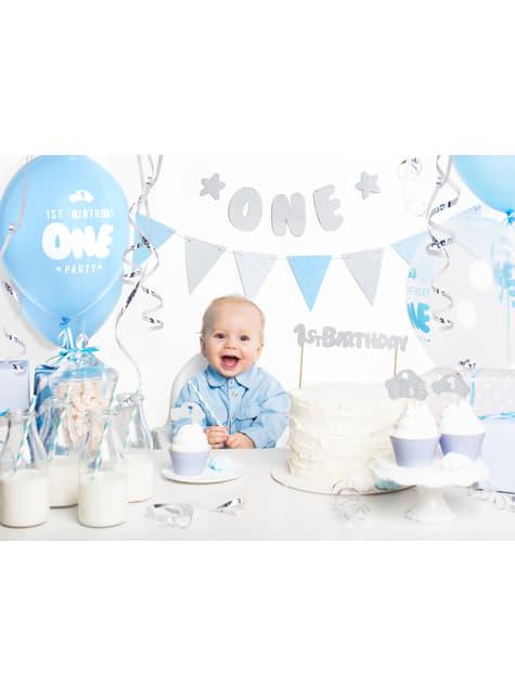 Banderín estampado de lunares azules de papel - Blue 1st Birthday - barato