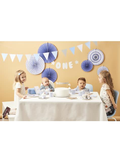 Banderín estampado de lunares azules de papel - Blue 1st Birthday - comprar
