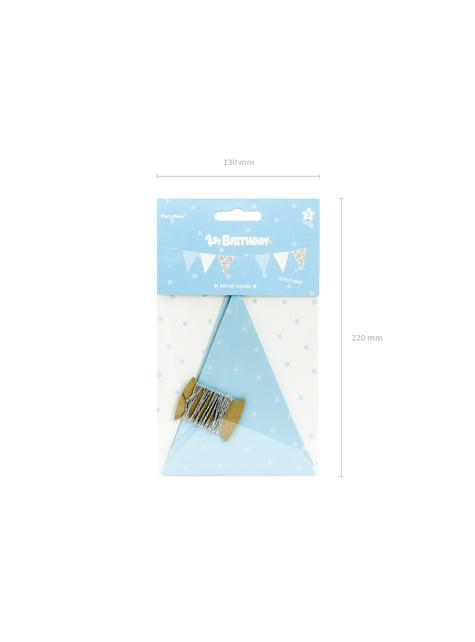 Banderín estampado de lunares azules de papel - Blue 1st Birthday - para niños y adultos
