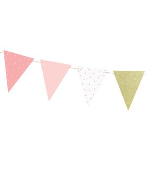 Papírová vlajková výzdoba s růžovými puntíky - Blue 1st Birthday