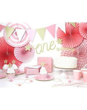 Tulostinpaperiköynös lipuilla joissa pinkeillä täplillä - Pink 1st Birthday