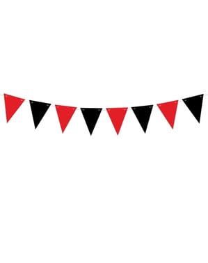 Red & Black Papír Bunting - kalózpárt
