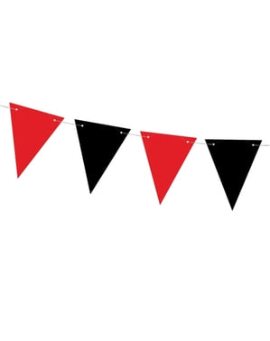 Banderoll röd och svart i papper - Pirates Party