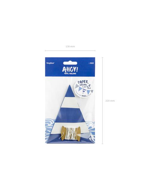 Bandeirola com listras azuis do papel - Ahoy!