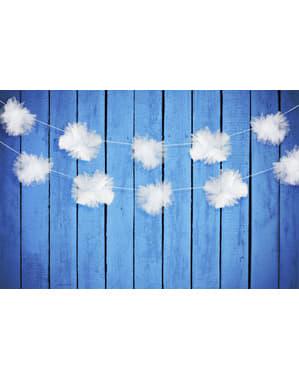 3 girlanger med mjuka vita dekorationsbollar i tyll