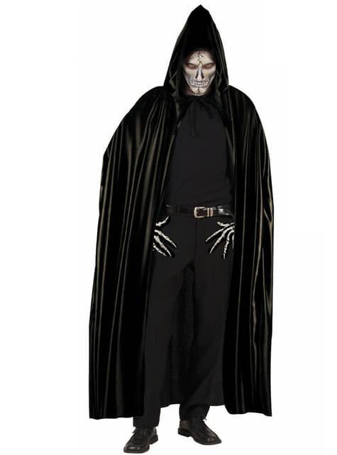 Capa negra con capucha para adulto