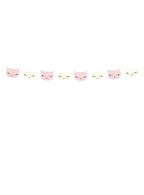 Guirnalda con caras de gato rosa pastel de papel - Meow Party