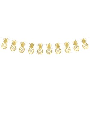 Girlang ananas guldfärgade i papper - Aloha Collection