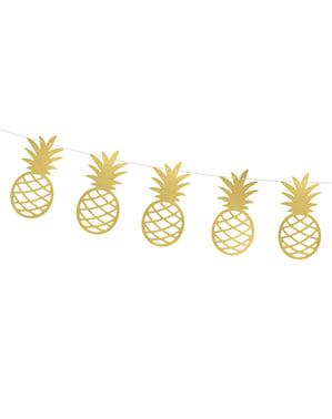 Papir vijenac sa zlatnim ananas - Aloha Kolekcija