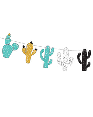 Guirnalda de cactus multicolor de papel - Dinosaur Party