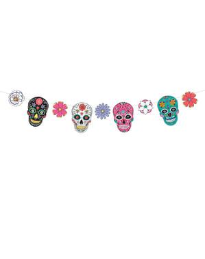 Flerfarvet kranie og blomster guirlande - Day of The Dead