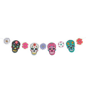 Multicolor skulls and flowers garland  - Day of the Dead