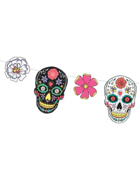 Guirnalda de calaveras y flores multicolor - Dia de Los Muertos Collection - para tus fiestas