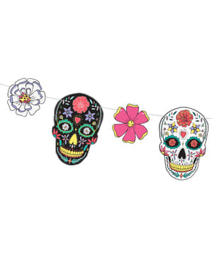 Multikleuren schedel en bloemenslinger - Day of the Dead