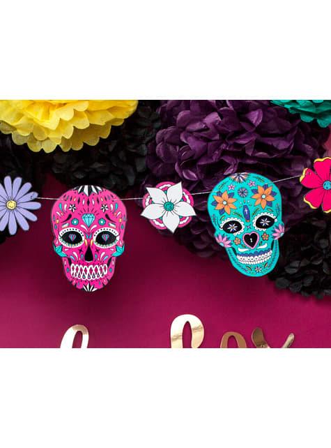 Guirnalda de calaveras y flores multicolor - Dia de Los Muertos Collection - para niños y adultos