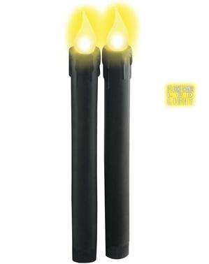Schwarze Kerzen mit Led Licht