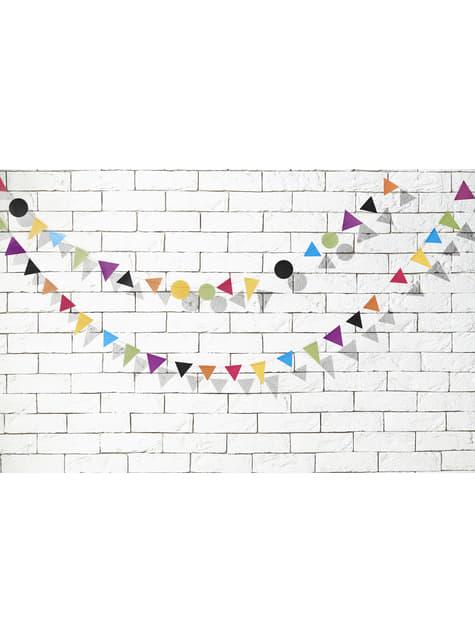 2 guirlandes avec formes géométriques multicolores