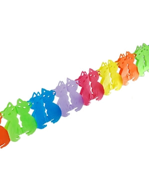 2 papieren slingers met multikleuren katten - Polka Dots Collectie