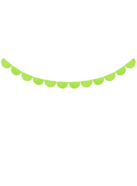 Guirnalda de semicírculos verde claro con flecos de 20 cm - barato
