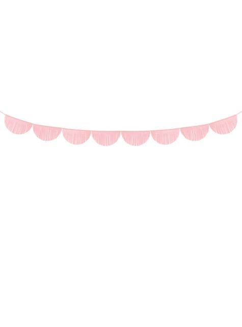 Guirnalda de semicírculos rosa claro con flecos