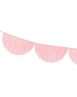 Grinalda de semicírculos cor-de-rosa claro com franjas