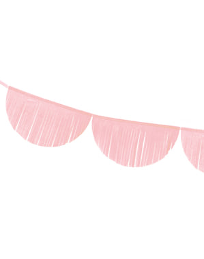 Guirlande demi-cercles rose clair à franges