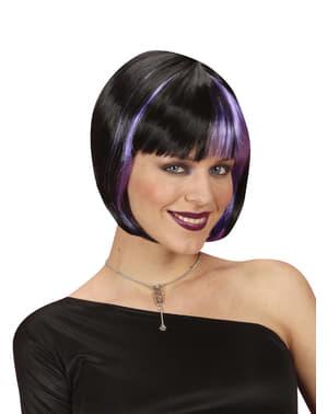 Чорну перуку з фіолетовими Основними для жінок