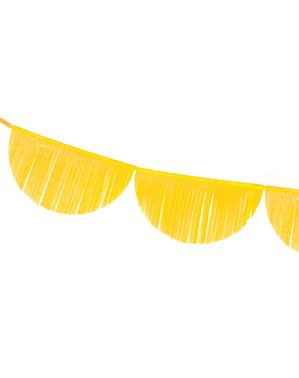 Guirnalda de semicírculos amarillo con flecos