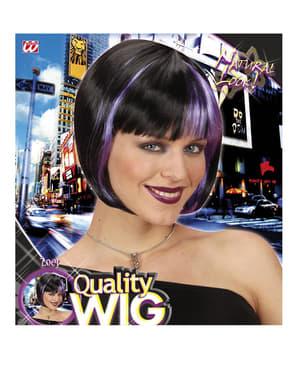 Parrucca nera con meches viola per donna