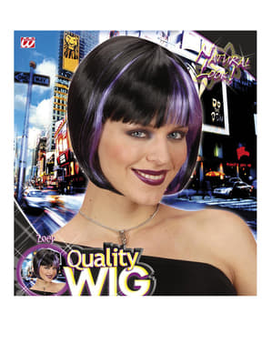 Black Wig with Violet Highlights for Women