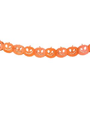 Oranje papieren pompoen slinger - Halloween