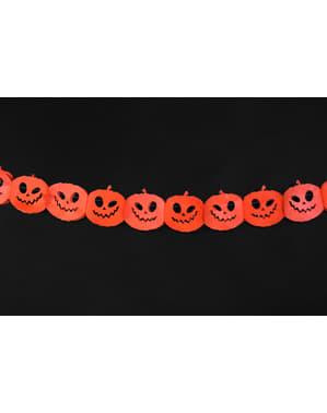 Pomarańczowa papierowa girlanda dynie - Halloween